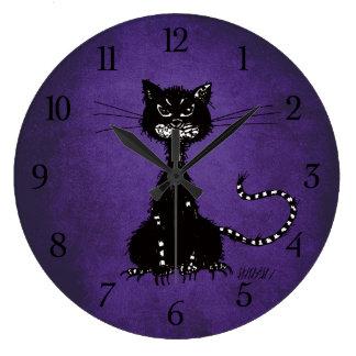 Gotische lila zackige schlechte schwarze Katze Große Wanduhr