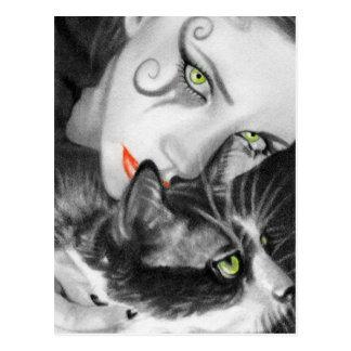 Gotische Mädchen-Miezekatze-Postkarte Postkarte