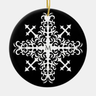 Gotische mittelalterliche Schneeflocke Rundes Keramik Ornament