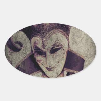 Gotische Renaissance-schlechter Clown-Joker Ovaler Aufkleber