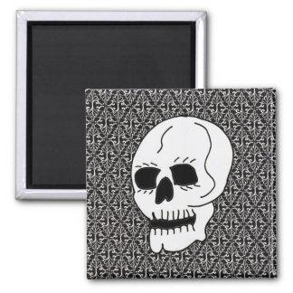 Gotische Rolle und Schädel Quadratischer Magnet