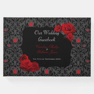 Gotische Rosen-schwarze und rote Gästebuch