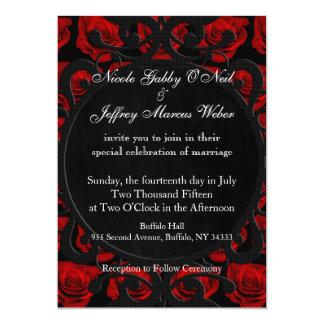 Gotische Rosen-viktorianische Hochzeits-Einladung Karte