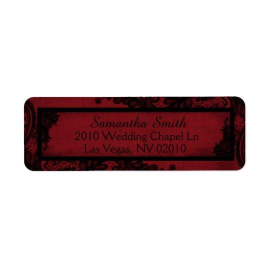 Gotische rote schwarze rücksendeetiketten