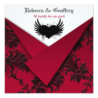 Gotische rote und schwarze Hochzeits-Einladung
