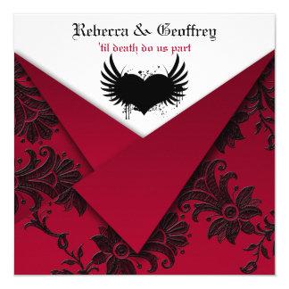 Gotische rote und schwarze Hochzeits-Einladung Quadratische 13,3 Cm Einladungskarte