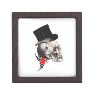 Gotische Schädel- und Rosentätowierungsart Kiste