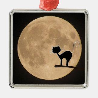 Gotische schwarze Katze Halloweens mit Vollmond Quadratisches Silberfarbenes Ornament
