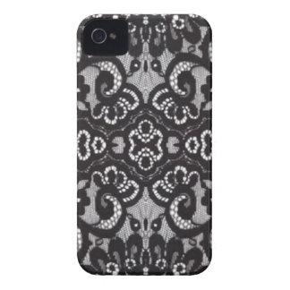 Gotische schwarze mit Blumenspitze iPhone 4 Case-Mate Hülle