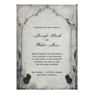 Gotische schwarze Rosen-Gitter-Hochzeits-Einladung