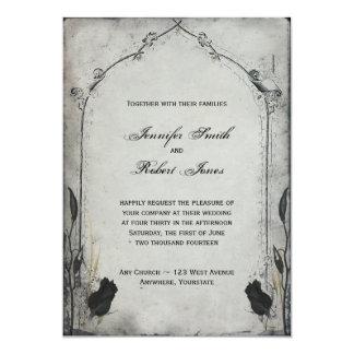 Gotische schwarze Rosen-Gitter-Hochzeits-Einladung Karte