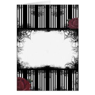 Gotische schwarze Streifen-Rosen-Karte Grußkarte