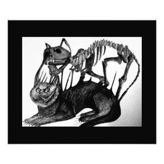 Gotische Schwarzweiss-Katzenskelettkunst Photos