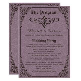 Gotische viktorianische Damast-Hochzeits-Programme Karte