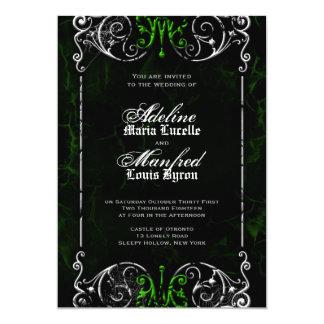 Gotische viktorianische gespenstische grüne 12,7 x 17,8 cm einladungskarte