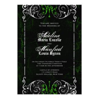 Gotische viktorianische gespenstische grüne einladungskarte