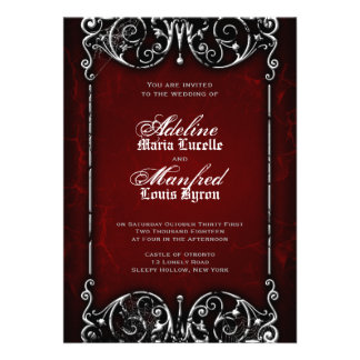 Gotische viktorianische gespenstische rote einladungskarten