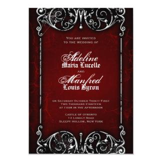 Gotische viktorianische gespenstische rote, einladungskarten