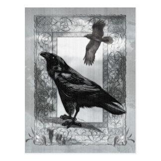 Gotische viktorianische Raben-Fantasie-Kunst Postkarte