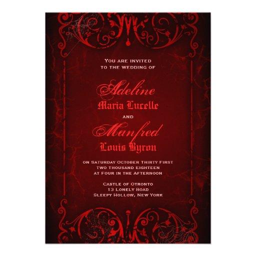 Gotische viktorianische tiefrote Hochzeit Individuelle Einladungen