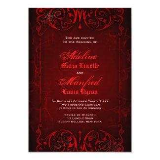 Gotische viktorianische tiefrote Hochzeit 12,7 X 17,8 Cm Einladungskarte
