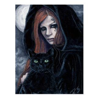 Gotische Witching Stunden-Katzen-Postkarte Postkarte