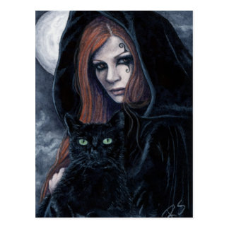 Gotische Witching Stunden-Katzen-Postkarte Postkarten