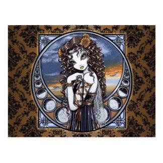 Gotischer Blumen-Mond-feenhafte Kunst-Postkarte Postkarte