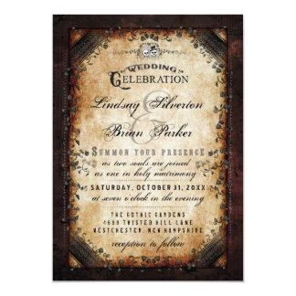 Gotischer Brown Skeleton Hochzeit Halloweens 12,7 X 17,8 Cm Einladungskarte