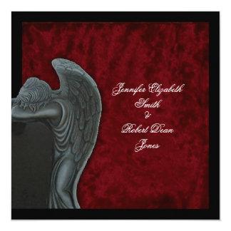 Gotischer Engel auf roter Samt-Hochzeits-Einladung Karte
