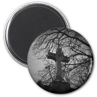Gotischer Halloween-Friedhof Runder Magnet 5,7 Cm
