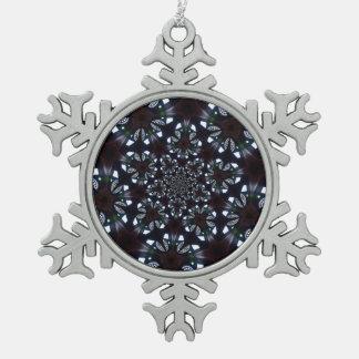 Gotischer kaleidoskopischer blauer schwarzer schneeflocken Zinn-Ornament