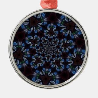 Gotischer kaleidoskopischer blauer schwarzer silbernes ornament