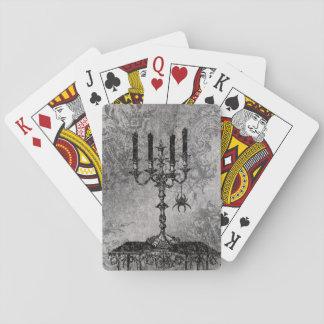 Gotischer Kerzenständer mit Spinne, Halloween Spielkarten