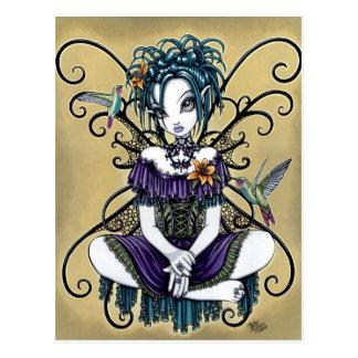 Gotischer Kolibri-feenhafte Kunst-Postkarte Postkarte