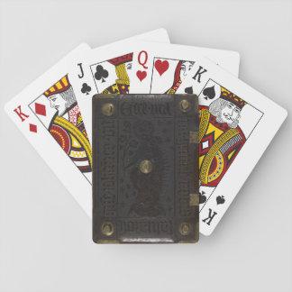 Gotischer lederner mittelalterlicher Bucheinband Spielkarten