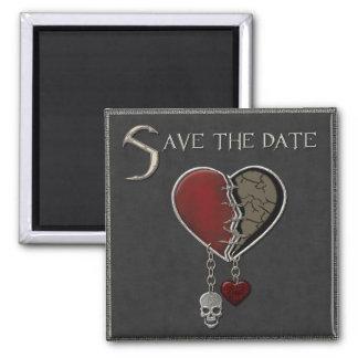 Gotischer Save the Date - quadratischer Magnet Magnets