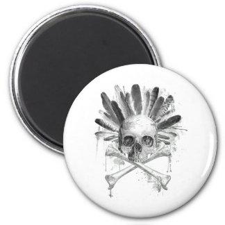 Gotischer Schädel der Stammes- Art - Kreuz Runder Magnet 5,1 Cm