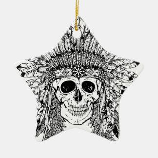 Gotischer Schädel der Stammes- Art mit Federkrone Keramik Ornament