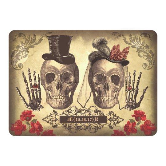 Gotischer Schädel-Paar-Tag der toten Hochzeit 12,7 X 17,8 Cm Einladungskarte