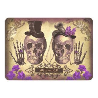 Gotischer Schädel-Paar-Tag der toten Hochzeit lila 12,7 X 17,8 Cm Einladungskarte