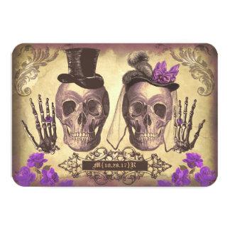 Gotischer Schädel-Tag der toten Hochzeit 8,9 X 12,7 Cm Einladungskarte