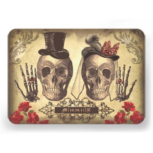 Gotischer Schädel-Tag der toten Hochzeit Individuelle Einladungskarte