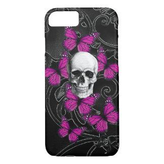 Gotischer Schädel u. lila Schmetterlinge iPhone 8/7 Hülle