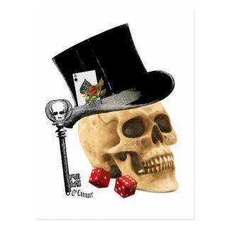Gotischer Spielerschädel-Tätowierungsentwurf Postkarte