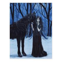 Gotisches Einhorn und Fee-Postkarte Postkarte