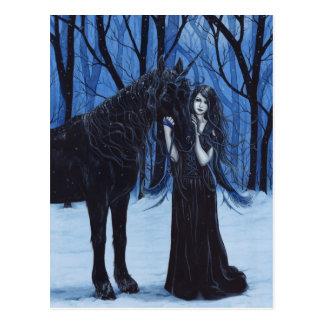 Gotisches Einhorn und Fee-Postkarte Postkarten