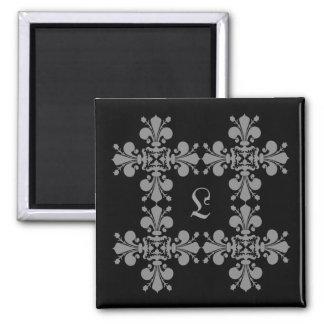 Gotisches Eleganz-Lilien-Damastmonogramm Kühlschrankmagnete