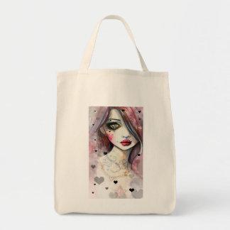 Gotisches Fantasie-Kunst-Mädchen mit Herzen Einkaufstasche