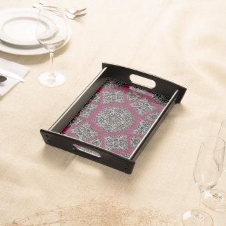 Gotisches Fuschia Schwarz-weißes Veiny Mosaik Tablett